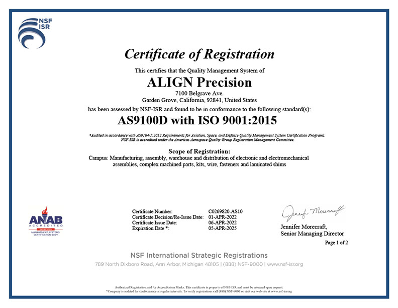 As9100 Certification Aero Pacific Corporation